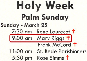Mary's name in bulletin after memorial Mass