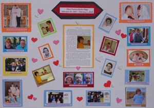 This trifold poster includes photos and Mary's obituary